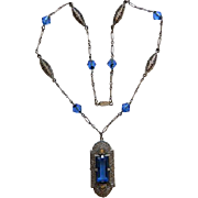 Art Deco Blue Glass Necklace