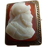 10K Victorian Hardstone Cameo Brooch/Pin of Soldier