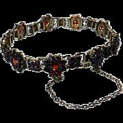 Antique Bohemian Garnet 835 Silver Bracelet