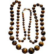 "28"" Graduated Beads Tiger's Eye Necklace hand Knotted"