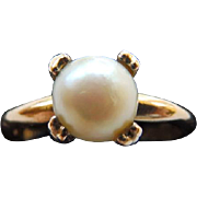 Vintage 10K GF Cultured Pearl Ring