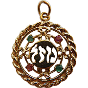 "14K ""MAZEL"" Charm/Pendant With Gemstones"