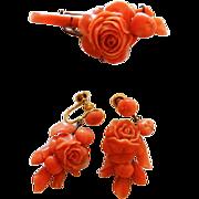 Victorian 10K Carved Coral Brooch & Earrings