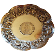 Indian Sterling Repousse Figural Bowl With 1916 Rupee Coin 1916 George V