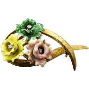 Vintage 18K Brooch With Enamel Flowers & Diamonds