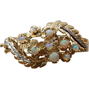 Vintage 14K YG Opal & Diamond Bangle Bracelet