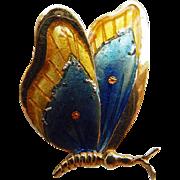 Vintage 18K & Enamel Butterfly Brooch/Pin