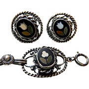 Vintage Pietra Dura Bracelet & Earrings Sterling Silver