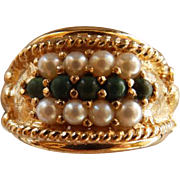 Vintage 14K YG Jade & Cultured Pearl Ring