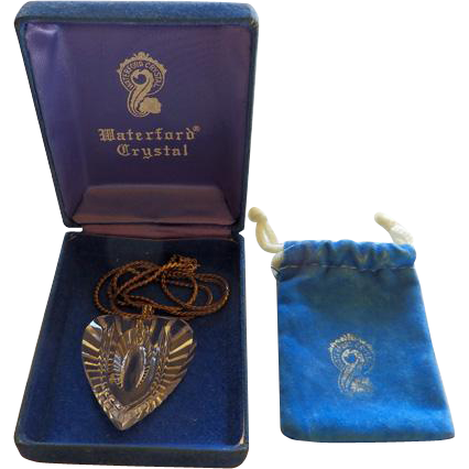 Waterford Crystal Heart Pendant With Sterling Chain Box & Pouch