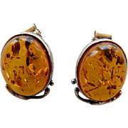 Vintage Baltic Amber & Sterling Stud Earrings