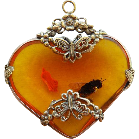 "Faux Amber Heart Pendant With ""Bug"""