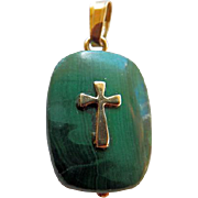 Vintage 14K YG & Malachite Cross Pendant