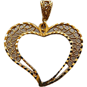 Vintage 14K YG Open Filigree Heart Pendant