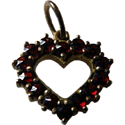 Vintage Bohemian Garnet Open Heart Pendant 800 Silver Vermeil