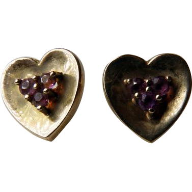 Vintage 14K Hand Crafted Heart Earrings With Amethysts