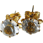 14K CZ Buttercup Style Pierced Earrings