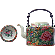 Antique Chinese Export Famille Rose Teapot With Bronze Handle