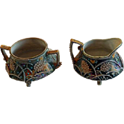 Antique Nippon Moriage Wheat Pattern Creamer & Sugar