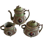 3 Piece Nippon Moriage Tea Set 19th Century