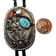 Sterling Bear Claw Bolo With Turquoise & Coral