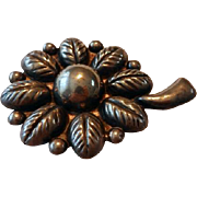 Vintage Huge Sterling Mexican Sunflower Pin