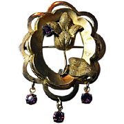 Victorian GF Flower Pin With Amethyst Glass