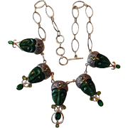 Sterling Silver & Green Onyx Goddess Necklace