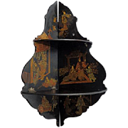 Chinoiserie Papier Mache Double Tier Corner Shelf