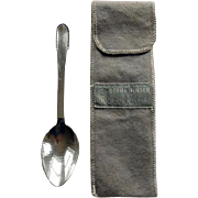 Georg Jensen Sterling Spoon Beaded Pattern With Felt Bag