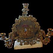 19TH C. French Bronze 5 Light Candelabra Reverse Painted Asian Scene