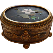 Antique Bronze Box With Pietra Dura Lid