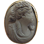 Antique Lava Cameo In GF Setting