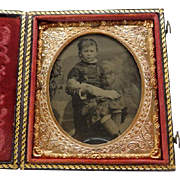 1/6 Plate Tintype Girl With A Doll Cased