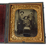 1/6 Plate Occupational Tintype Men With Multiple Tools