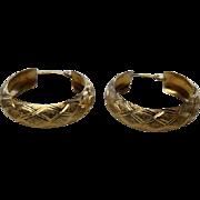Vintage 14K YG Textured Hoop Earrings