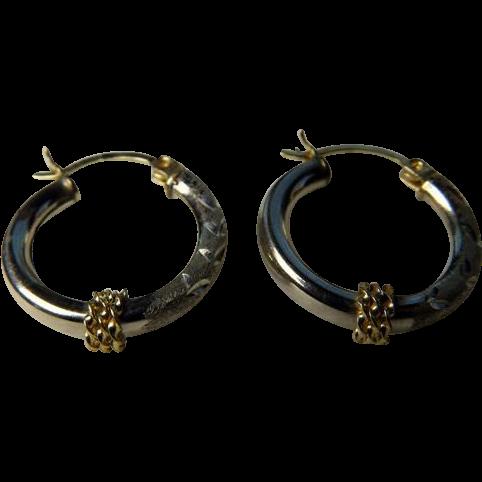 Vintage 10K Yellow & White Gold Earrings Hoops