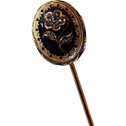 Victorian 18K Enamel & Diamond Stick Pin
