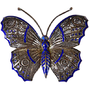 Vintage Sterling & Enamel Filigree Butterfly Brooch/Pin Portugal