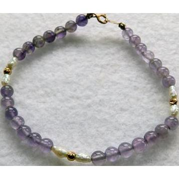 Vintage 14K Amethyst & Cultured Pearl Bracelet