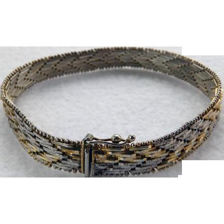 Vintage Sterling Tri-Color Woven Bracelet