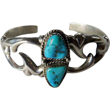 Nellie Tso Navajo Sterling Sand Cast Bracelet With Turquoise