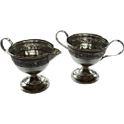 Pair Sterling Silver Creamer & Sugar MHF Manufacturer