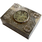 Vintage Chinese Silverplate Box With Jade Medallion
