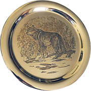 Sterling & 24KT Gold Limited Edition Plate Timber Wolf 1976