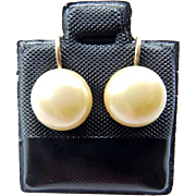 14K Cultured Button Pearl Screw Back Earrings