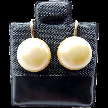 14K Cultured Button Pearl Screw Back Earrings