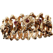 French Victorian Rose Gold Expandable Bracelet With Rubies & Seed Pearls