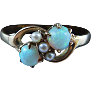 Victorian Opal & Cultured Pearl 12+ Karat Yellow Gold Ring