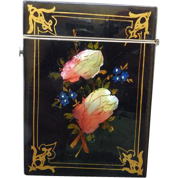 19th C English Papier-Mache Calling/Visiting Card Case